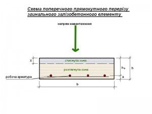 схема поперечного перерізу згинального елементу